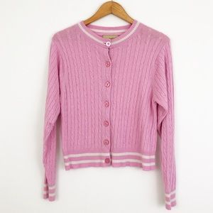 Wildfox Pink & White Button Down Sweater Cardigan